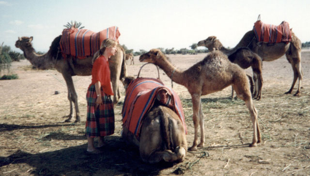 Mary with camels, Marrakech, Morocco, 1992
