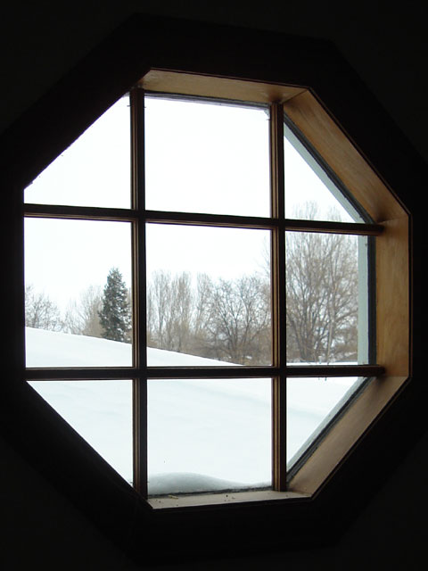 snowy view from octagon window, Fort Collins, Colorado, 2006