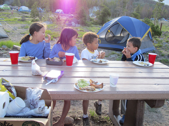 """Joachim and kids at a picnic, Glacier Basin campground"", Rocky Mountain NP, Colorado, 2011"