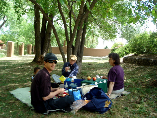 """Greg, Joachim and grandparents having a picnic"", Santa Fe, New Mexico, 2009"