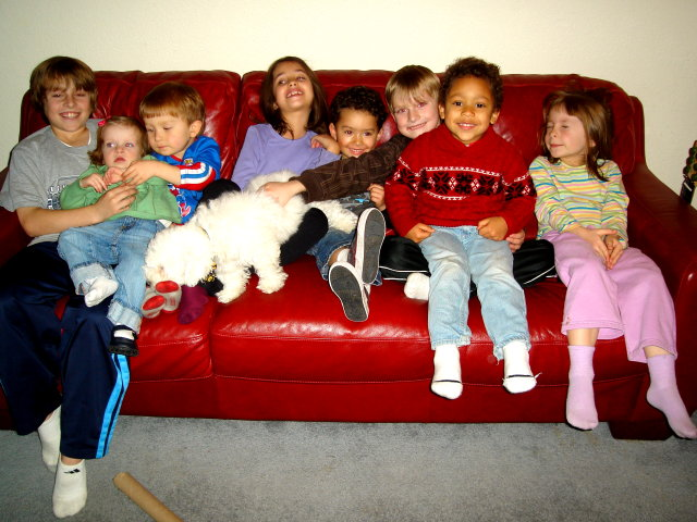 The Vogl kids on Mary's couch, Fort Collins, Colorado, 2008