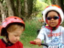 Joachim and Dylan on bikes along the Poudre River, Fort Collins, Colorado, 2009
