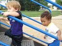 Dylan and Joachim climbing steps, Fort Collins, Colorado, 2007