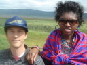 Greg and Joanitha in a jeep, Ngorongoro, Tanzania, 2008