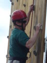 Greg on climbing wall, CSU Pingree Park, Colorado, 2008