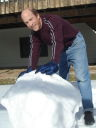 Greg building a snowman in the back yard, Fort Collins, Colorado, 2008