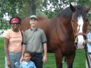 """Joanitha, Joachim and Greg with Budweiser clydesdale horse"", Fort Collins, Colorado, 2008"