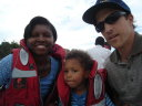 Joachim and Joanitha and Greg on the boat to Saa Nane Island, Mwanza, Tanzania, 2008