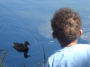 Joachim and duck at Sprague Lake, Rocky Mountain NP, Colorado, 2008