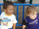 Joachim and Dylan on park bench, Fort Collins, Colorado, 2007