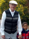 Joachim and grandpa by the art museum, Santa Fe, New Mexico, 2009