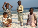 Joachim and kids on a beach, Bukoba, Tanzania, 2008