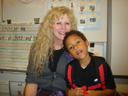 Joachim with substitute teacher Mrs. Greiser, Fort Collins, Colorado, 2011