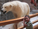 Joachim with polar bear at Cabela's, Sidney, Nebraska, 2011