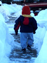 Joachim in a sidewalk snow tunnel, Fort Collins, Colorado, 2006