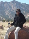 Joanitha on a boulder, Boulder, Colorado, 2008