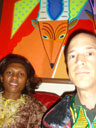 Joanitha and Greg with antelope painting, Fort Collins, Colorado, 2007