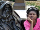 Joanitha with Invictus statue, Loveland, Colorado, 2008